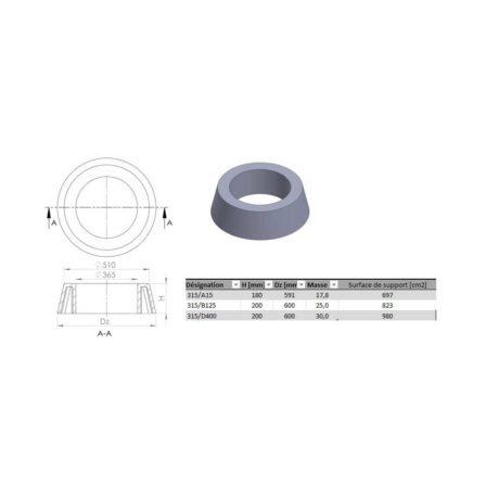 Rehausse tampon cone de r duction dn315a15 200 de600 - Rehausse beton ronde ...