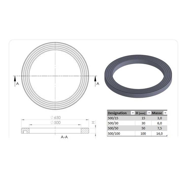 R hausse de tampon ronde ouverture 50 cm ep 5 cm dn ext 65 cm ultracrete joint pour pave - Rehausse beton ronde ...