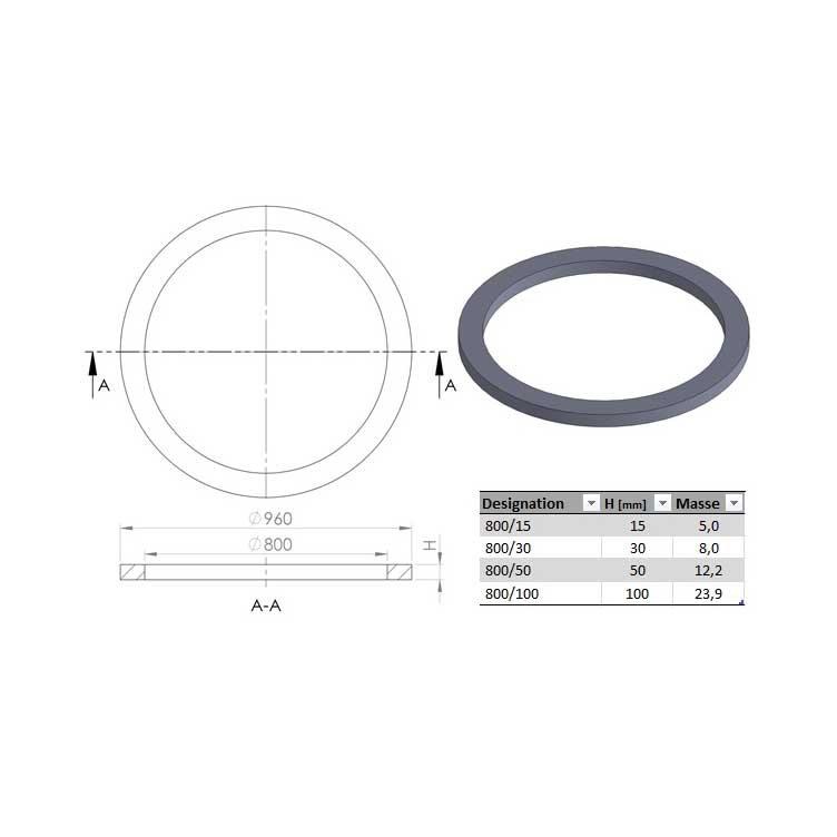 R hausse de tampon ronde ouverture 80 cm ep 15 cm dn ext 96 cm ultracrete joint pour pave - Rehausse beton ronde ...