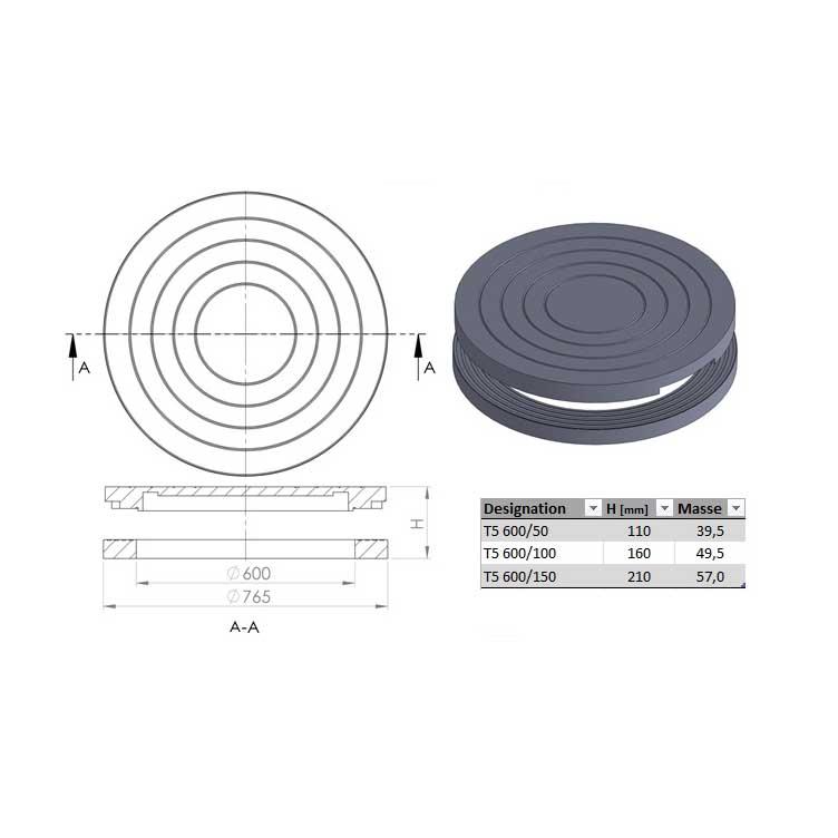 Bague de r hausse dn 600 160 765 dnext 350 ronde plaque pleine ultracrete joint pour pave - Rehausse beton ronde ...